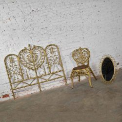Hollywood Regency Bohemian Bedroom Trio Gold Wicker Headboard Heart Chair & Mirror