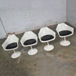 Tulip Style White Fiberglass Swivel Chairs and Table by Umanoff for Contemporary Shells