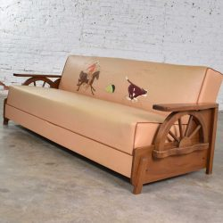 Mid Century Cowboy Western Wagon Wheel Convertible Dude Ranch Sofa
