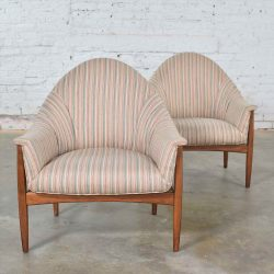 HOLD – Pair Mid Century Modern Petite Tub Chairs Attributed to Thayer Coggin