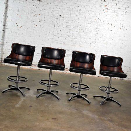 Vintage Modern Daystrom Adjustable Black Bar Stools Molded Curved Backs Set 4