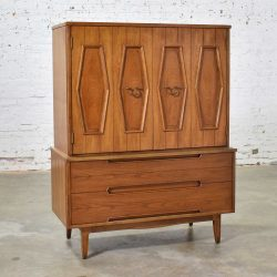 Mid Century Gentlemen's Chest with Hexagon Paneled Design and Brass Hardware