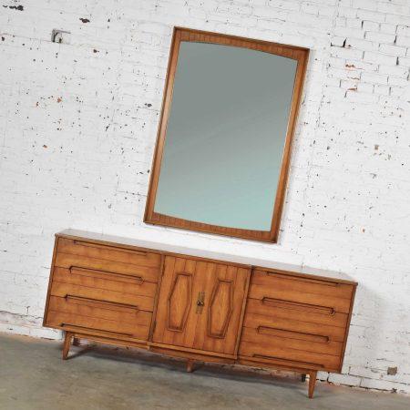 Mid Century Credenza Dresser with Mirror and Hexagon Paneled Design