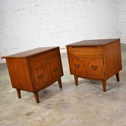 HOLD – Mid Century Pair of Nightstands or End Tables with Hexagon Paneled Design and Brass Hardware