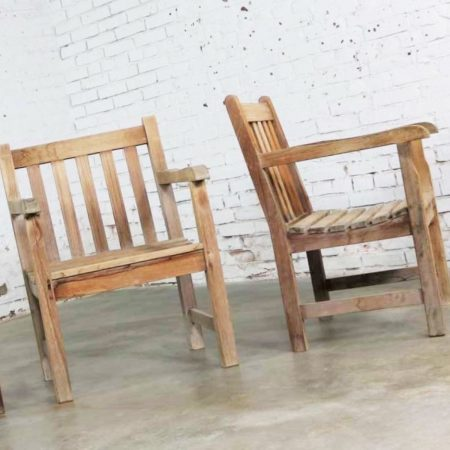 Vintage Windsor Natural Teak Outdoor Armchair with Age Patina