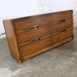 Compass by Drexel Six Drawer Campaign Dresser Vintage Mid Century