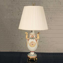 Maitland Smith Porcelain Lamp with Lion Heads