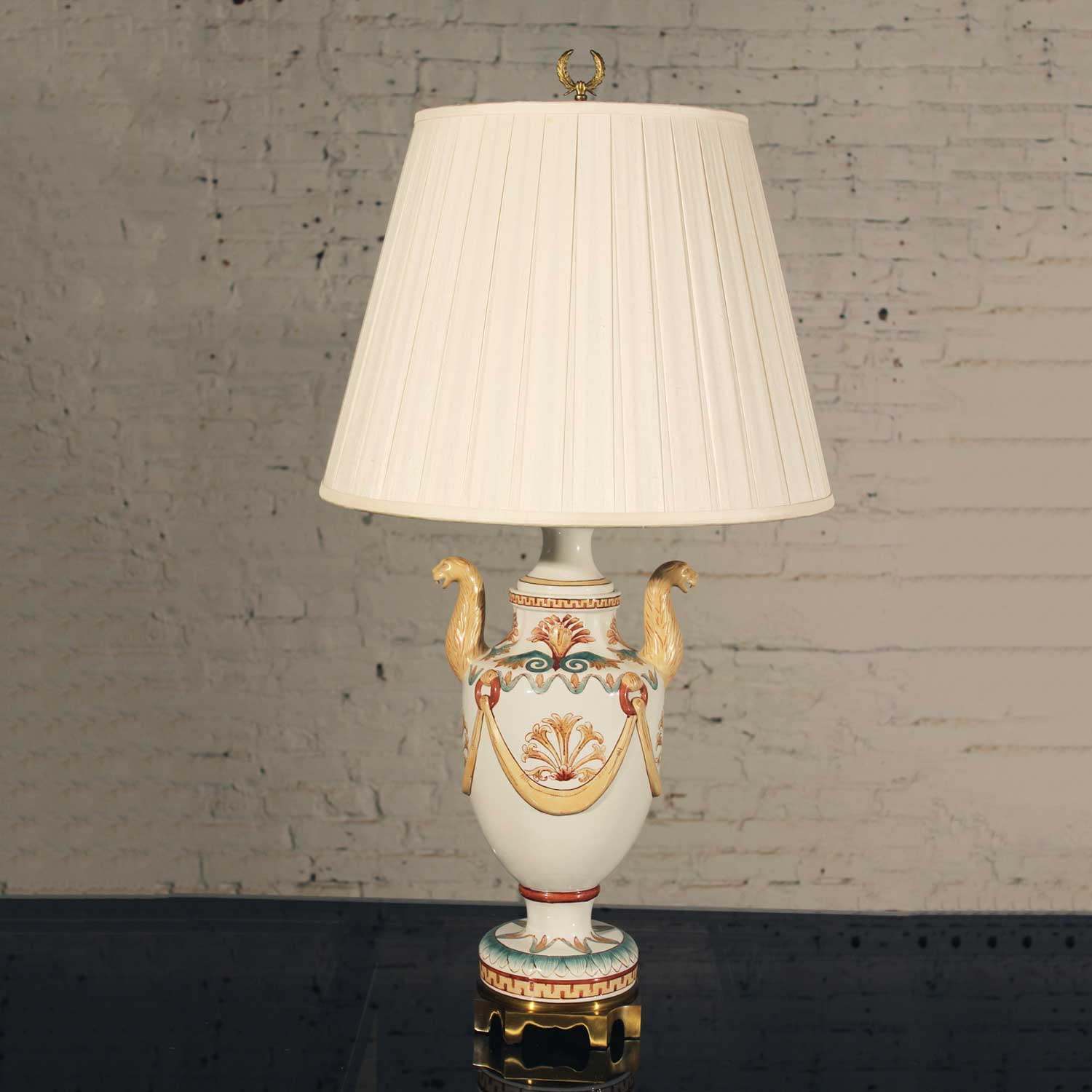 Maitland Smith Porcelain Lamp with Lion Heads – warehouse 5