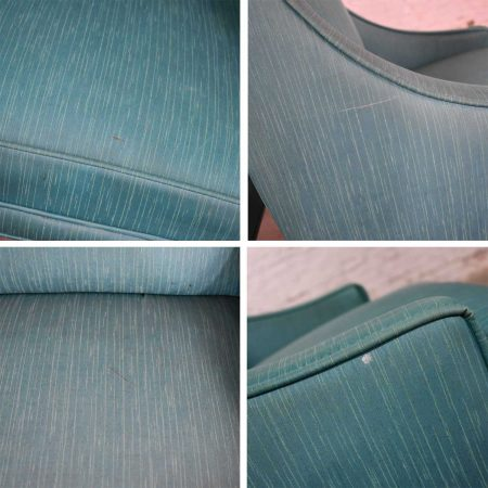 Set of 4 Spanish Style Rolling Game Chairs with Turquoise Vinyl Original Upholstery
