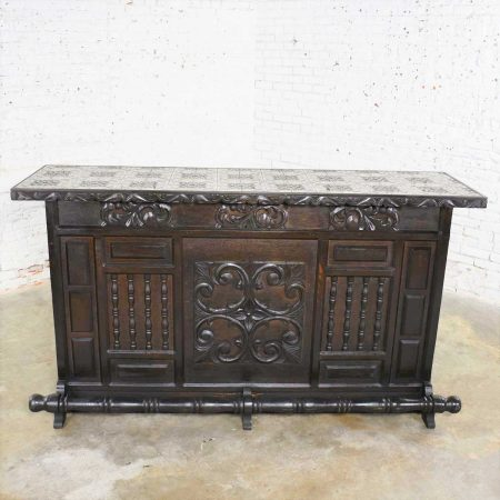 Vintage Spanish Revival Style Dry Bar with Inlaid Tile Top in Style of Artes de Mexico