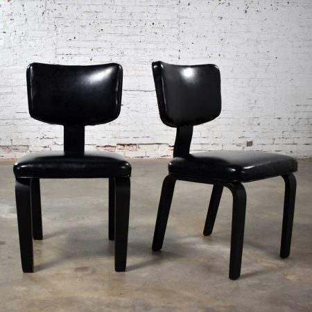 Mid Century Modern Pair of Black Thonet Bentwood and Vinyl Chairs