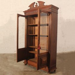 Antique Eastlake Victorian Walnut Bookcase Display Case
