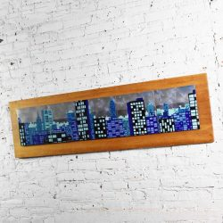 Mid Century Modern Enamel on Copper Tile Cityscape Wall Art Style of Judith Daner