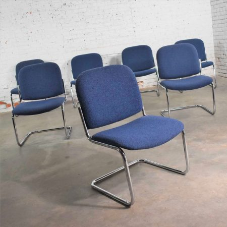Vintage Tubular Chrome and Blue Fabric Cantilever Lounge Chair Armless Slipper Style, 7 Available