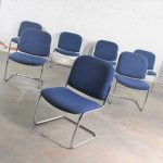 Vintage Tubular Chrome and Blue Fabric Cantilever Lounge Chair Armless Slipper Style, Set of 7