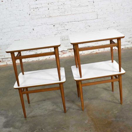 Set of 4 Mid Century Modern Birch Side Tables with White Laminate Tops & Tapered Legs