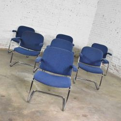 Vintage Tubular Chrome and Blue Fabric Cantilever Lounge Chair with Arms, Set of 7