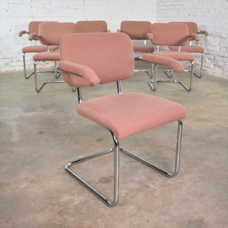 Set Of 7 Cantilevered Chrome and Mauve Breuer Cesca Style Dining Chairs by Virco