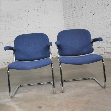 Vintage Tubular Chrome and Blue Fabric Cantilever Lounge Chair with Arms, 7 Available