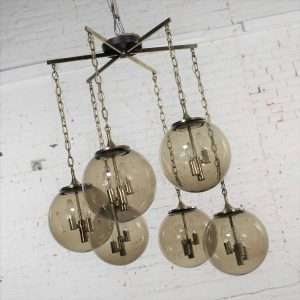 Lightcraft of California Chandelier with 6 Cascading Smoke Glass Orb Globes Brass Star Canopy