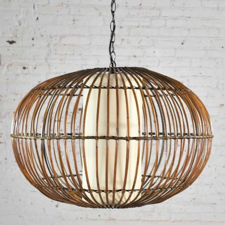 Vintage MCM Rattan Cage Pendant Chandelier with Interior Shade after Franco Albini