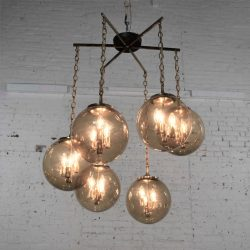 Lightcraft of California Chandelier with 6 Cascading Smoke Glass Orb Globes Brass Star Canopy