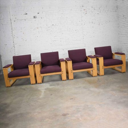 Modern Open Frame Club Chairs with Floating Seat in Oak and Aubergine Fabric Set of 4