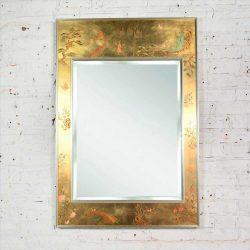 Vintage Églomisé Reverse Painted Chinoiserie Gold-Tone Wall Mirror by La Barge