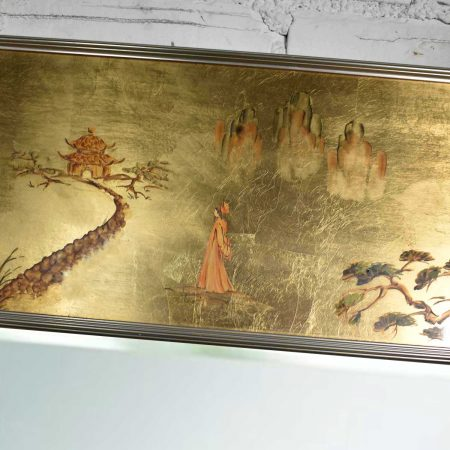 Vintage Églomisé Reverse Painted Chinoiserie Gold-Tone Wall Mirror by La Barge