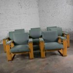 Modern Open Frame Club Chair with Floating Seat and Back in Oak and Fabric 8 Available in Teal
