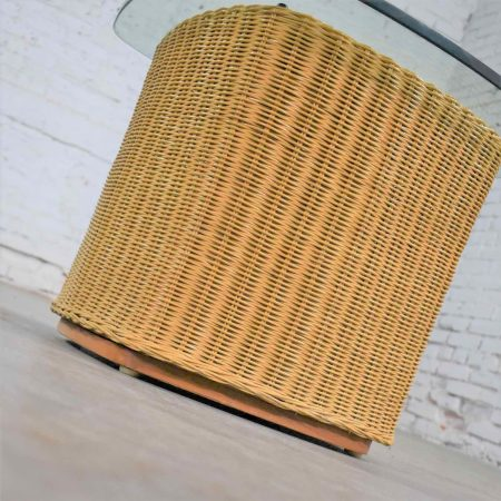 Rattan Wicker Organic Modern Side Table with Thick Glass Top