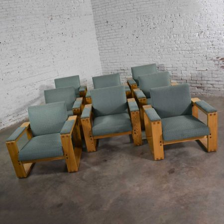 Modern Open Frame Club Chair with Floating Seat and Back in Oak and Fabric 8 Available