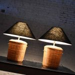Vintage Pair of Woven Rattan Wicker Basket Lamps with Black Coolie Shades