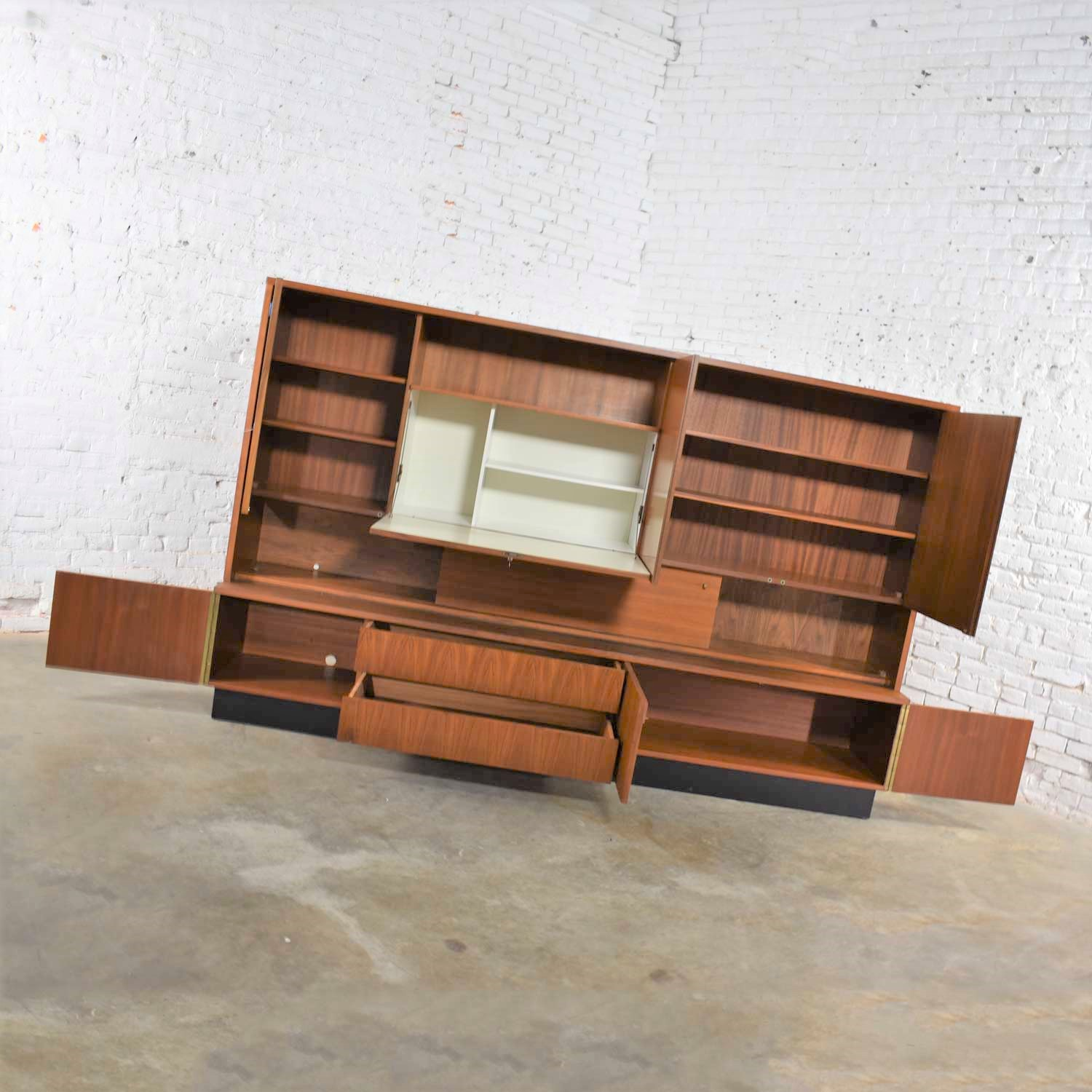 Image of: Teak Mid Century Modern Wall Storage Bookcase Cabinet With Drop Front Desk Warehouse 414