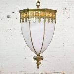 Antique Gothic Style Slag Glass and Brass Octagon Chandelier Pendant Light, 2 Available
