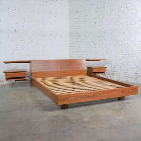 Teak Scandinavian Modern Cal King Storage Platform Bed & Swing-Arm Nightstands by Dyrlund