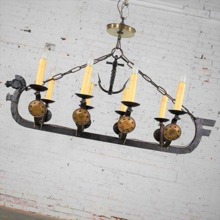 Antique Viking Longboat Ship Cast Iron Chandelier with Horse Head and Shields