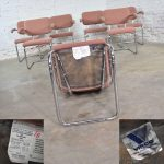 Set Of 7 Cantilevered Chrome and Mauve – Breuer Cesca Style Dining Chairs by Virco