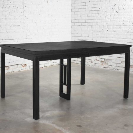 Asian Parson Style Black Extension Dining Table with Two Aproned Leaves