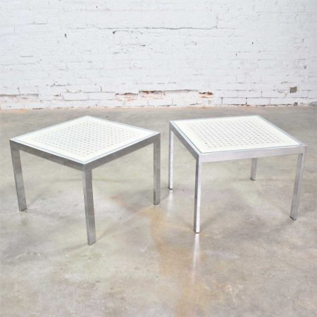 Pair Chrome and White Cane Square Side Tables Glass Top Mid Century Modern to Modern