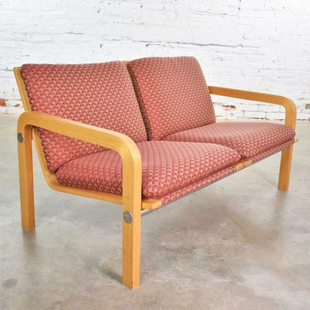Vintage Modern Oak Bentwood and Chrome Two-Seat Settee or Bench Thonet Attributed