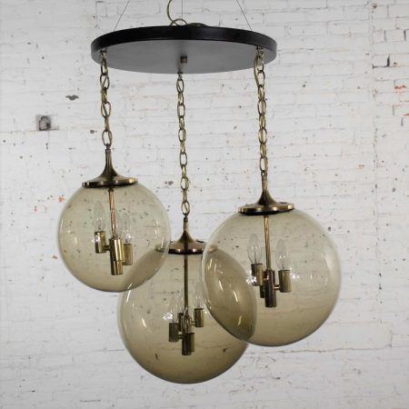 Lightcraft of California Chandelier with 3 Cascading Smoke Glass Orb Globes Various Size
