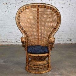 Wicker Rattan Peacock Fan Back Chair Vintage Bohemian Hollywood Regency