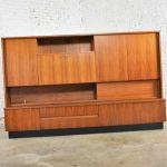 Teak Mid Century Modern Wall Storage Bookcase Cabinet with Drop Front Desk