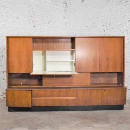 Teak Mid Century Modern Wall Storage Bookcase Cabinet with Drop Front Desk