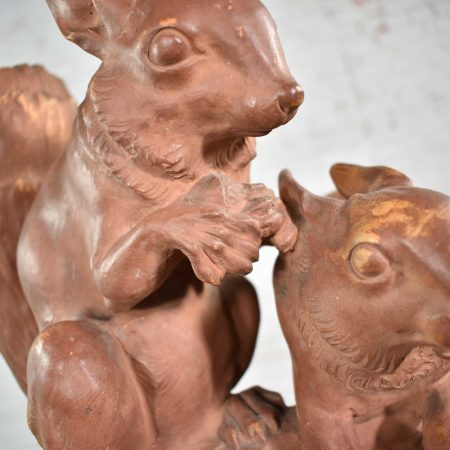 Antique Terracotta Lifesize Sculpture of Squirrels by Leo Amaury & Stamped R D'Arly France