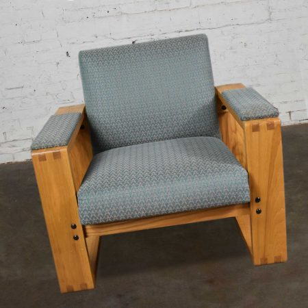 Modern Open Frame Club Chair with Floating Seat and Back in Oak and Teal Fabric 8 Available