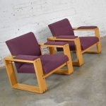 Pair Modern Open Frame Club Chairs with Floating Seat in Oak and Aubergine Fabric