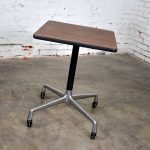 Vintage Eames for Herman Miller Square Rolling Side Table Universal Base Faux Wood Grain Laminate Top