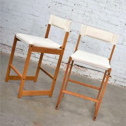 Vintage Pair Scandinavian Modern Sling Counter Height Bar Stools White